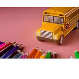 Crayon, School, School Bus