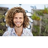 Portrait, Man, Curls