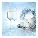 Decoration, Christmas, Champagne Glasses