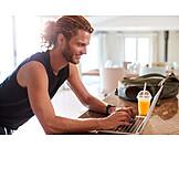 Man, Typing, Laptop