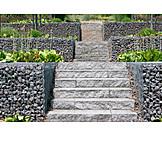 Stairs, Landscape gardening, Stone basket