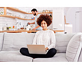 Woman, Laptop, Online