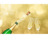 Party, Champagne Bottle, Uncork