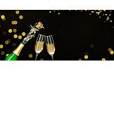 Silvester, Feiern, Sektflasche, Entkorken