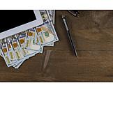 Büro, Schreibtisch, Dollarschein