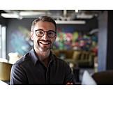 Mann, Lächeln, Designer