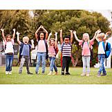 Children, Cheering, Arms Up, School Starter