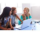 Laughing, Cooperation, Programming, Schoolgirls
