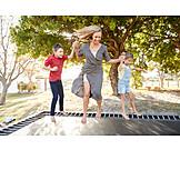Mother, Children, Jumping, Trampoline
