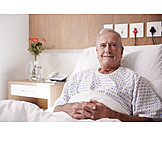 Senior, Patient, Hospital Bed