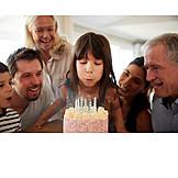 Girl, Birthday, Blow Out, Birthday Cake