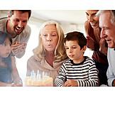 Grandmother, Birthday, Blow Out, Birthday Cake