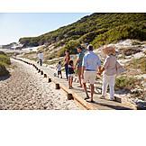 Spaziergang, Familie, Strandurlaub