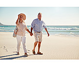Beach, Walk, Together, Older Couple