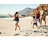 Beach, Walk, Family, Summer Vacation