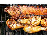 Grillfleisch, Barbecue, Hähnchenschlegel