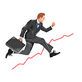 Businessman, Running, Upswing