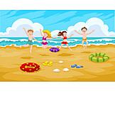 Kinder, Luftsprung, Strandurlaub