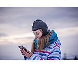 Girl, Winter, Smart Phone