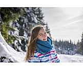 Girl, Snow, Portrait