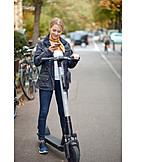 Woman, Smart Phone, E-scooter