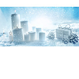 Snow, Christmas, Candles