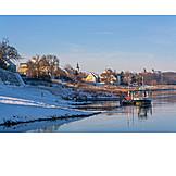 Winter, Elbe River, Ferry