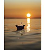 Sunset, Travel, Paper Boat
