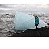 Woman, Ice, Glacier Lagoon, Jökulsarlon