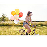 Teenager, Cycling, Balloons