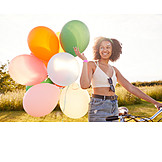 Girl, Happy, Balloons