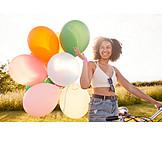 Girl, Happy, Balloons