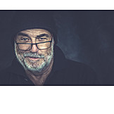 Mann, Mütze, Brille, Bart