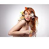 Nude, Red Hair, Flower Arrangement, Fertility