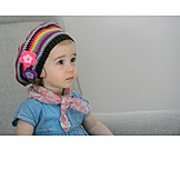Girl, Serious, Knit Cap