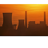 Sunset, Smoke Stack, Power Station