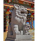 Buddhismus, Steinskulptur, Löwe