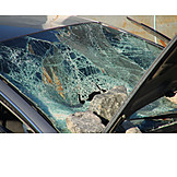 Car, Accident, Falling Rocks, Glass Damage