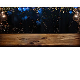 Party, Wooden Table, Confetti