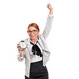 Enthusiastic, Alarm Clock, Morning, Businesswoman