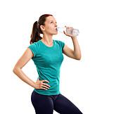 Frau, Trinken, Wasser, Training