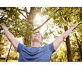 Glücklich, Natur, Wald, Lebensfreude
