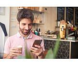 Man, Happy, Reading, Smart Phone