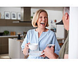 Laughing, Together, Couple, Coffee Drink