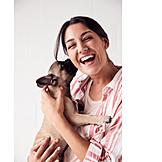 Woman, Laughing, Dog, Cuddle