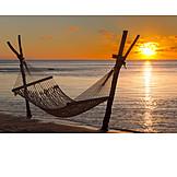 Sonnenuntergang, Strand, Hängematte