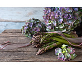 Hydrangeas, Still Life, Asparagus
