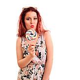 Woman, Sweet, Redhead, Kissing Lips, Lollipop