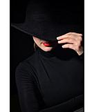 Elegant, Hat, Fashion, Human Lips, Red Lips
