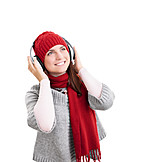 Music, Winter Time, Listen, Headphones